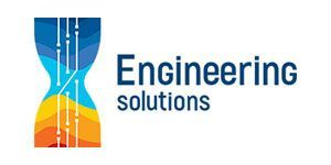 Engineering solutions company logo, colorful hourglass with lines inside