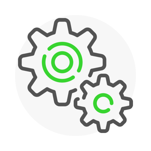 Icon representing two gears