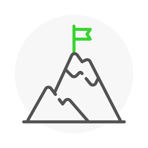 Icon representing mountain with a flag on top