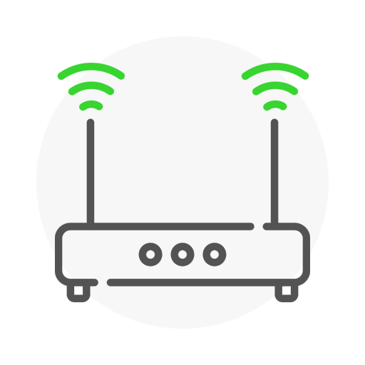 Icon representing router with the two antennas transmitting the signal
