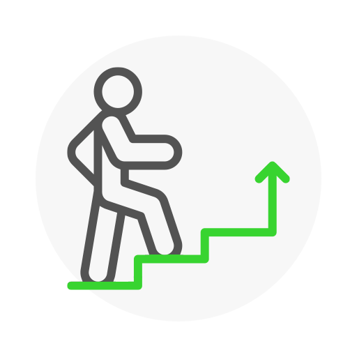 Icon representing a person climbing the stairs made from a rising arrow