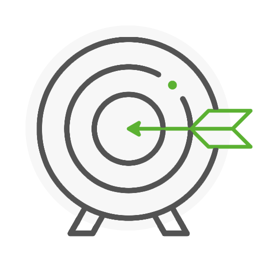 Icon representing a shooting target with an arrow stuck in the middle